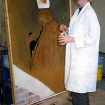 Entstehung eines Freskos, Auftrag der gelösten Pigmente auf den feuchten Putz