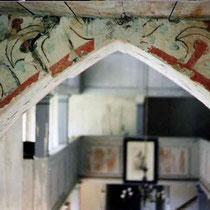 Possendorf, evang. Kirche, Chorraum, Spitzbogen, Rückseite, Malerei nach 1509, Aufnahme nach der Freilegung