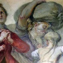 St. Ullrich Martini, Detail aus dem Deckengemälde während der Retusche
