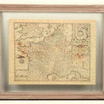Cuadro con marco de madera y cristal con mapa antiguo de Francia