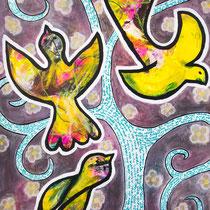 Flight, Acrylic and mixed media on paper, 50 x 70 cm unframed