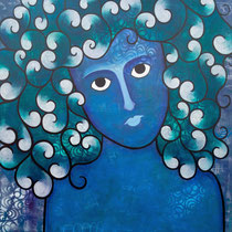 Sea Goddess, Acrylic and mixed media on canvas, 137 x 137 cm