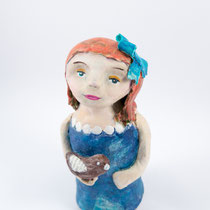 Girl with bird clay doll SOLD