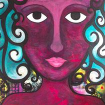 The Medusa Stare,  Acrylic and mixed media on canvas, 111 x 183 cm