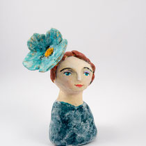 Girl with flower clay doll SOLD