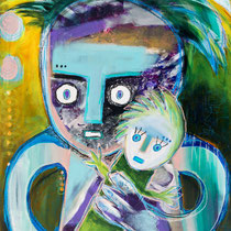 My Doll, Acrylic and mixed media on cradled wood panel, 51 x 76 cm