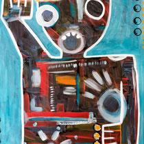 Ogilvie's Study, Acrylic and mixed media on cradled wood panel, 60 x 90 cm