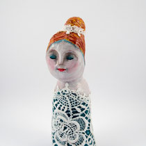 Girl with lace dress clay doll