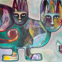 The Journey of the Sphinx, Acrylic and mixed media on canvas, 180 x 120 cm