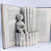 Book art from vintage book and clay SOLD