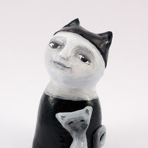 Girl with cat clay doll SOLD