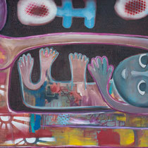 The Giving, Acrylic and mixed media on canvas, 91 x 182 cm