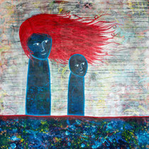 Mother and Child, Acrylic and mixed media on canvas, 122 x 122 cm