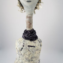 Found branches, clay and collage art doll