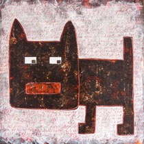 The Dog's Digging Again, Acrylic and mixed media on canvas, 111 x 111 cm