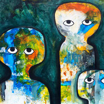 Speak No Evil, Acrylic and mixed media on paper, 70 x 54 cm