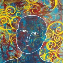 Brain Swirl, Acrylic and mixed media on paper, 50 x 65 cm unframed