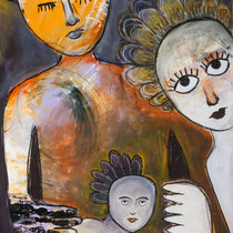 Family, Acrylic and mixed media on paper, 44 x 70 cm, unframed