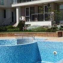 Mosaico per piscine in pasta di vetro mix azzurro