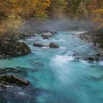 Herbst an der Soca, Slowenien