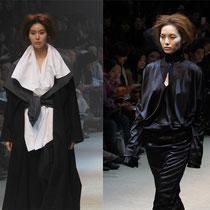 Modelos portan elegantes creaciones de Moon Young-hee realizadas utilizando sólo blanco y negro (foto: Sohn Ji-ae)