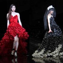 Las elaboradas decoraciones de Jaison en rojo, blanco y negro están inspirados en hermosas flores a la medianoche (foto: Sohn Ji-ae).