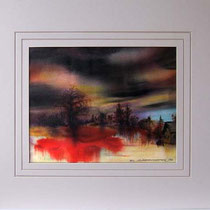Nr.88/01  Landschaft   Aquarell auf Büttenspezialpapier Fin Art  80x60 inkl. Karton - Passepartout  € 300.-
