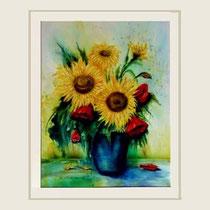 Nr. 2/102 Sonnenbl.  Aquarell auf Büttenspezialpapier Fin Art 70x60cm inkl. Karton - Passepartout  € 600.-  Verkauft