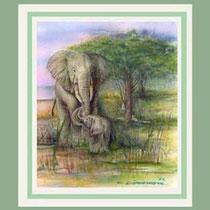 Nr,3/19  E.  Aquarell auf Büttenspezialpapier  Fin Art 50x50 cm inkl. Karton - Passepartout  € 280,-