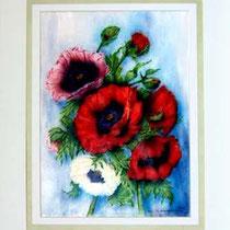 Nr. 99/03 Mohnb.   Aquarell auf Büttenspezialpapier Fin Art 80/60 cm inkl. Karton - Passepartout  €  830.-  Verkauft