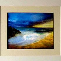 Nr.5/10 Landschaft   Aquarell auf Büttenpapier  Fin Art 60x50 cm inkl. Karton - Passepartout, Glas, Metallrahmen Weiss mit Rückwand  €360,-