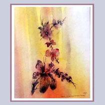 Nr. 97/01 Bl.   Aquarell auf Büttenpapier Fin Art 50x40 cm inkl. Karton -Passepartout,  Metallr. Weiss,  Glas mit Rückwand  €  320.-