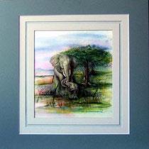 Nr. 3/15  E.1  Aquarell auf Büttenspezialpapier  Fin Art 60x50 cm inkl. Karton - Passepartout  € 290.-