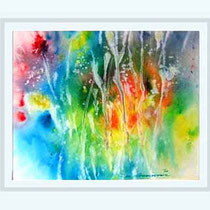 Nr.3/17 Bl. Impression   Aquarell auf Büttenspezialpapier Fin Art  60x48,5 cm inkl. Karton - Passepartout  € 250.-