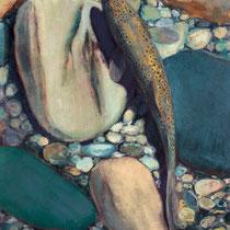 BACHFORELLE, 30 cm x 40 cm, 2000, Öl auf Leinwand