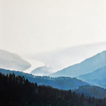 DAS STROMTAL (WACHAU), 2005, 140 cm  x 160 cm, Eitempera und Öl auf Leinwand