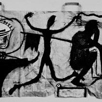 """Aus dem Zyklus """"WELTTHEATER"""", 1984, 60 cm x 28 cm, Kreide auf Papier"""