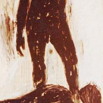 """Aus dem Zyklus """" POSITIONEN MENSCHLICHER KÖRPER"""", 1987, 70 cm x 110 cm, Dispersion"""