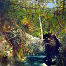 KRUG UND QUELLE, 120 cm x 140 cm, 2004, Öl auf Leinwand