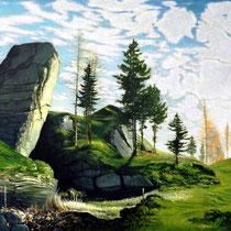 HOCHTAL, 2003, 67 cm x 145 cm, Eitempera und Öl auf Leinwand