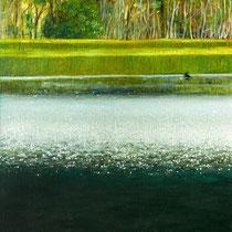 DUNKLER BERGSEE, 60 cm x 80 cm, 2003, Öl auf Leinwand