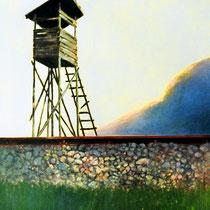 AM BAHNDAMM, 40 cm x 60 cm, 2002, Öl auf Leinwand