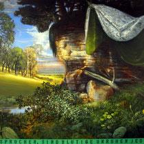 IM WINDSCHATTEN, 120 cm x 140 cm, 2005, Öl auf Leinwand