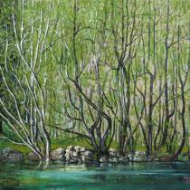 GEBIRGSBACH, 30 cm x 40 cm, 2008, Öl auf Leinwand