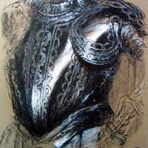 """Aus dem Zyklus """"KALLIGRAPHEN DER HYBRIS"""", 2004, 50 cm x 60 cm, Kohle und Kreide"""