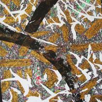 HERE AND NOW ! - peinture acrylique et pastels à l'huile sur papier lacéré, tailladé et marouflé sur toile - 73 x 92 cm