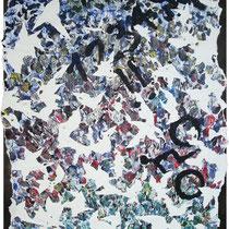 LOOKING FOR CONSCIOUSNESS - peinture acrylique et pastels à l'huile sur papier lacéré et marouflé sur toile - 60 x 92 cm