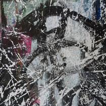 Peinture acrylique sur papier poncé - 51 x 41 cm (encadré)