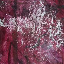 Peinture acrylique et pastels tendres sur papier râpé - 51 x 41 cm (encadré)