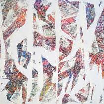 THE LIGHT IS COMING - peinture acrylique et pastels à l'huile sur papier lacéré et marouflé sur toile - 100 x 81 cm
